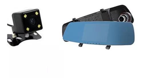 Kit Espelho Retrovisor Com Camera Frontal E Ré Full Hd 4,3