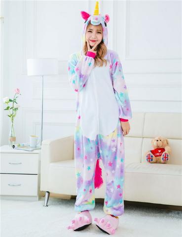 Pijama Unicórnio Kigurumi Estrelinha Macacão De Unicornio