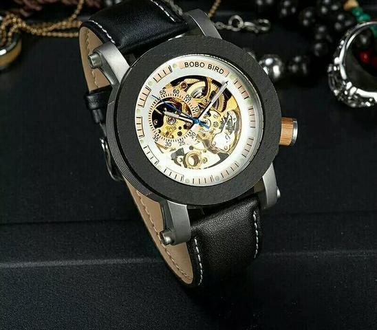 Relógio Automático Squeleton Moldura de Madeira