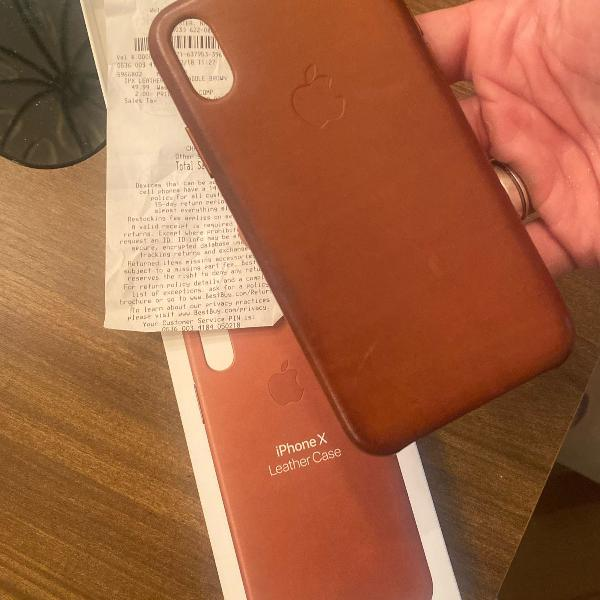 capa de couro iphone x marrom original apple comprada nos