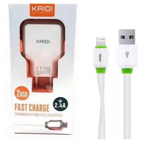 carregador turbo 2 portas usb + cabo iphone kd-605