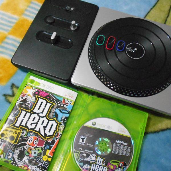 dj hero turntable c/ jogo xbox 360