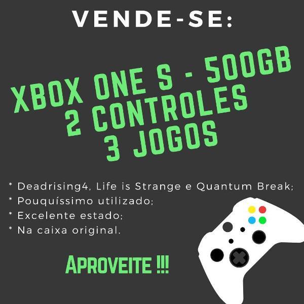 xbox one s 500gb com 2 controles sem fio e 3 jogos! é o