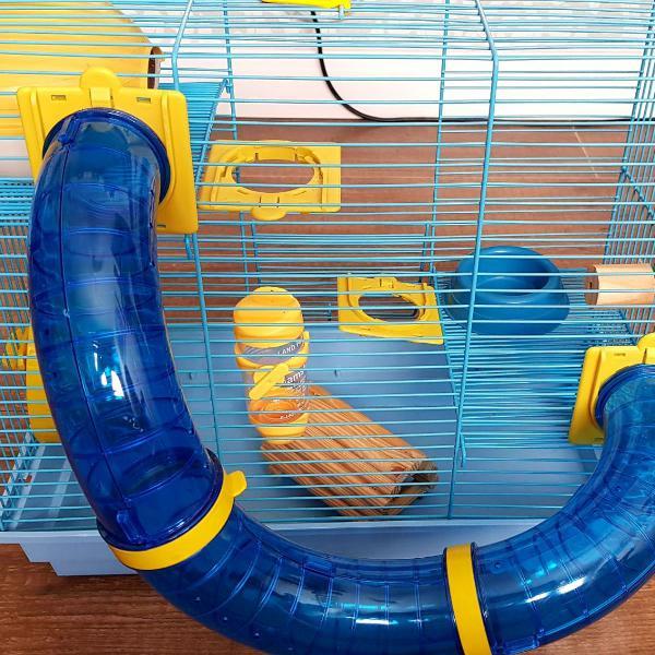 gaiola de 03 andares de tubo para hamster