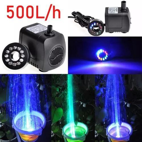 Bomba Motor Submersa Luz 12 Leds Fonte Água Aquário 500l/h