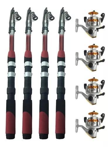 4 Vara De Pesca 2,10m 14lbs + 4 Molinete 10 Rol Aço Inox