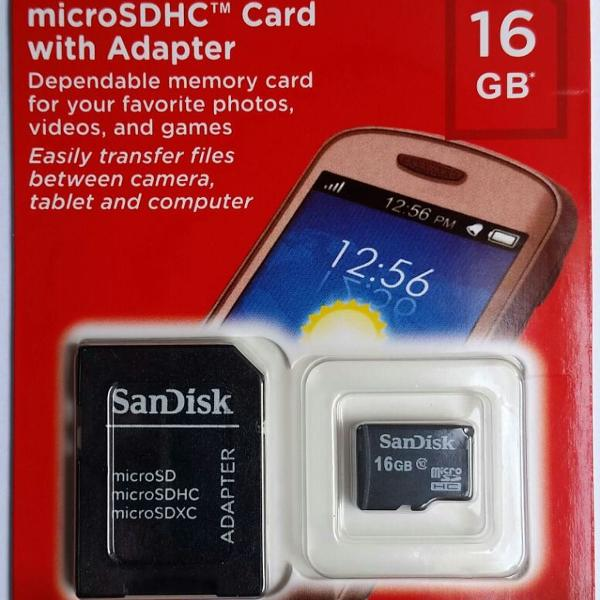 Cartão De Memória Micro 16gb 100% Original Sandisk Classe