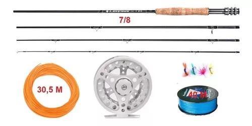 Kit Fly Fishing Completo #7/8 Pesca Com Mosca Vara Carbono