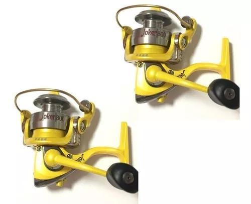 Kit Pesca 2 Molinetes Maruri Joker 800 Amarelo 4 Rolamentos
