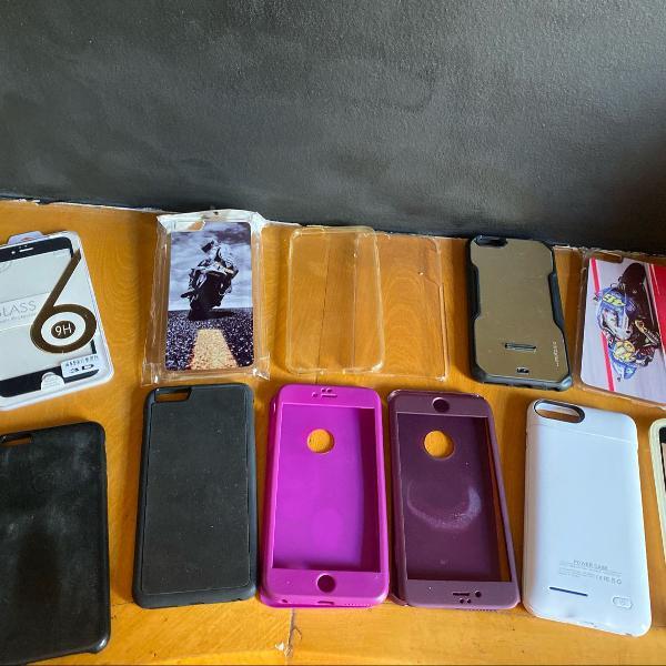 kit case película de vidro 360 capinha para iphone 6 plus s