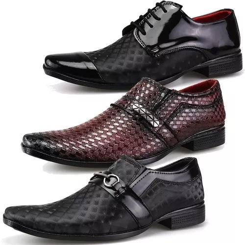 Kit 3 Pares Sapato Masculino Social Verniz Lançamento Dhl