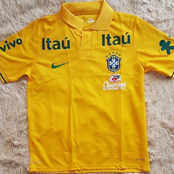 camisa polo seleção brasileira tam p e m