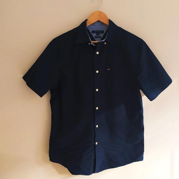 Tommy Hilfiger Camisa Masculina Azul com botões