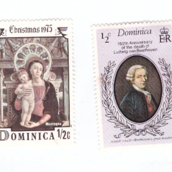 Selos antigos da Dominica - anos 70 e 80
