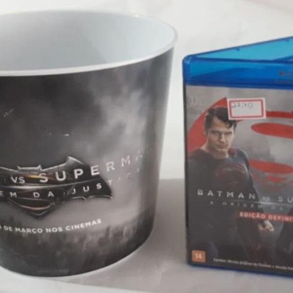 blu ray duplo - batman vs superman + balde de pipoca