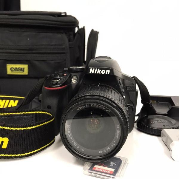 câmera nikon d5300 + lente nikon 18-55mm - nova
