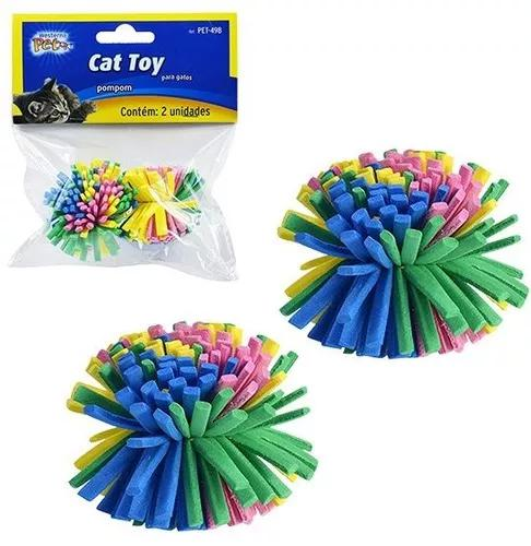 Brinquedo Para Gato Pom Pom Colorido 3,5cm Com 2 Unidades