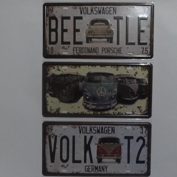 Kit Trio Placas em metal Clássicos Volkswagem Fusca e Kombi