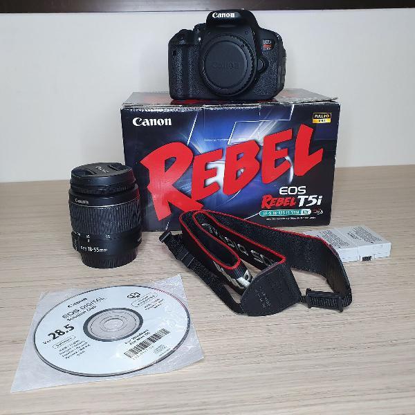 Canon T5i + 2 Baterias + Carregador + Cartão de Memória
