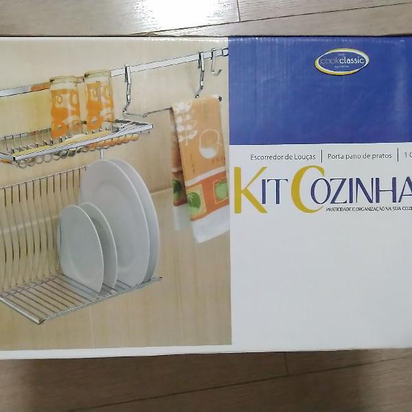 kit cozinha em inox (escorredor de parede + barra + porta