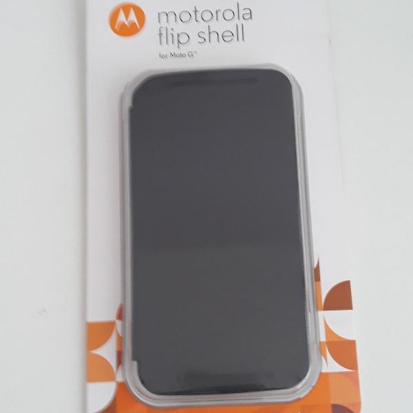 capa celular moto g 2a geração flip cover preta