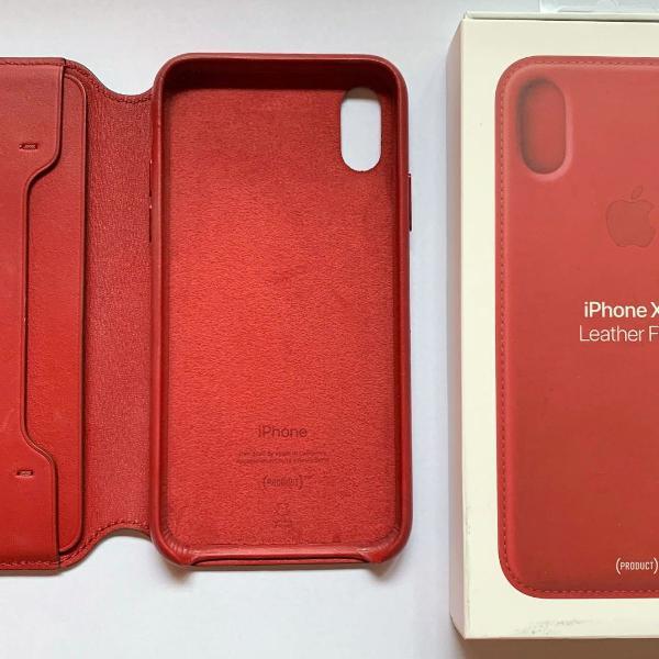 capa de couro folio original apple para iphone xs -