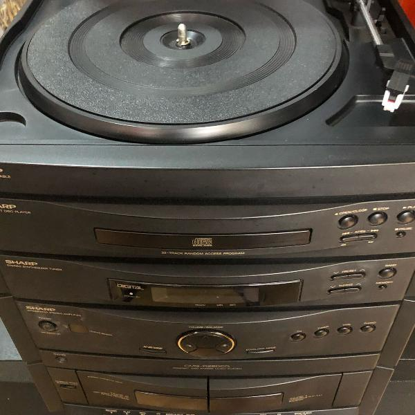 aparelho 4 em 1 sharp (radio, toca disco, fitas k7 e cd)