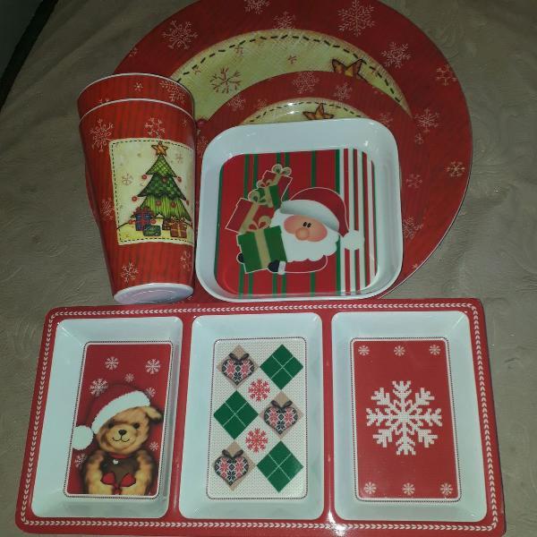 kit natal prato, copo, porta petisco