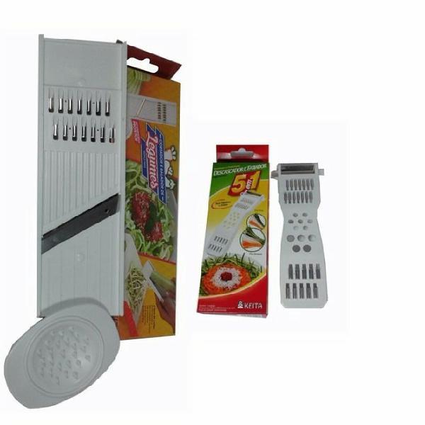 oferta kit cortador de legumes + descascador 5 em 1 keita
