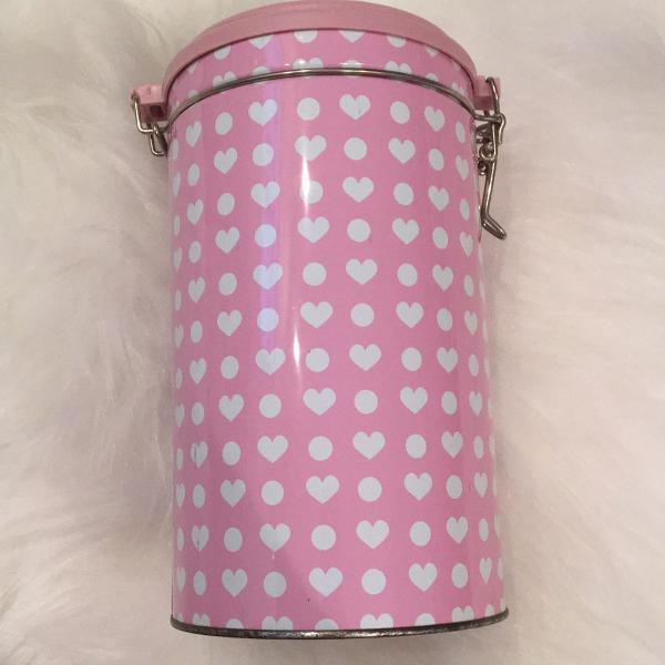 porta biscoito coração rosa lindo
