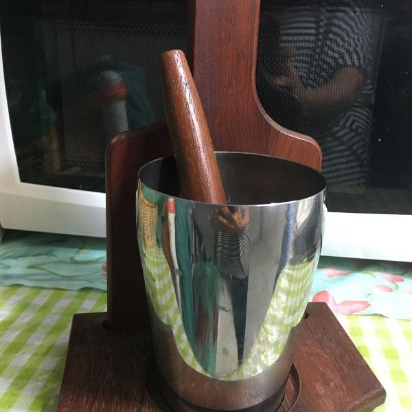 kit caipirinha antigo- anos 80 em madeira escura e aço inox