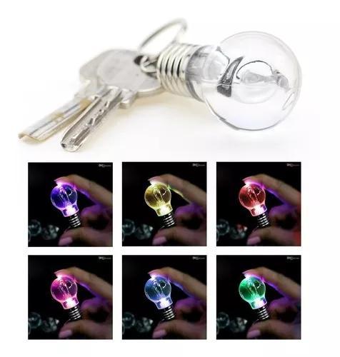 60 Chaveiro Mini Lampada Lanterna Led Luz Colorida Brinde