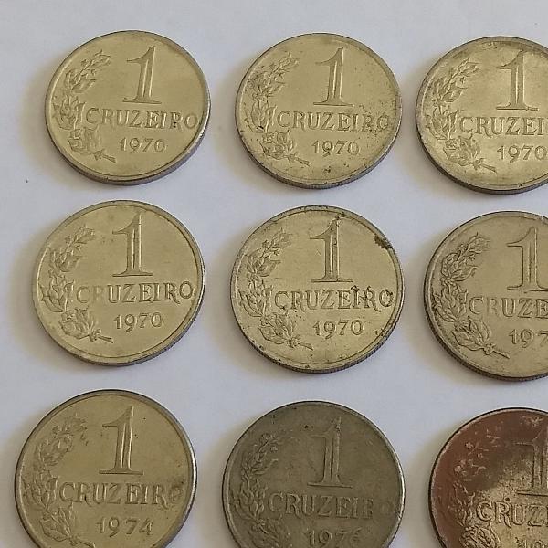 9 moedas 1 cruzeiro 1970,74,75,76