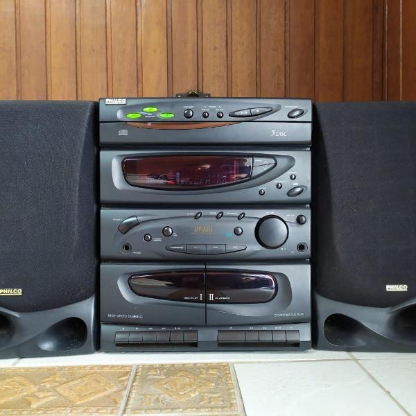 micro system/aparelho de som philco com duas caixas de som