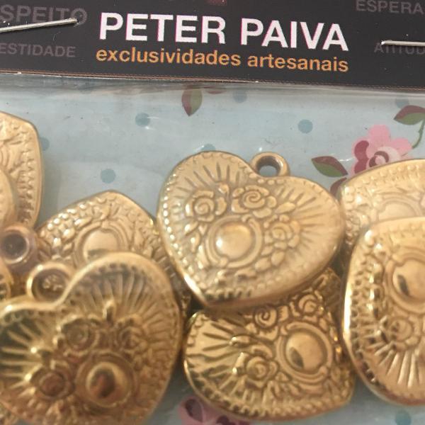 pingente coração decoração peter paiva pacote com 10