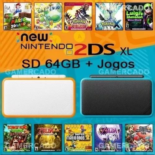 New Nintendo 2ds Xl Desbloqueado 64gb Com Vários Jogos.
