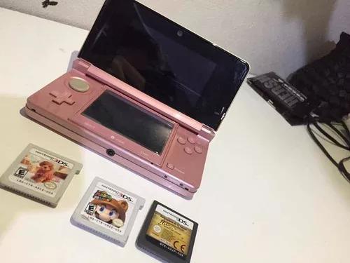 Nintendo 3ds Rosa Metálico + 3 Jogos + 3 Cartas 3d +