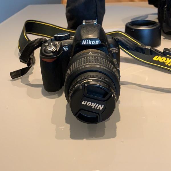 camera fotográfica nikon 3100 com lente extra, todos os