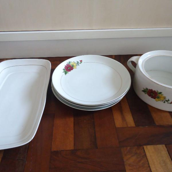 conjunto louças pratos rasos filete ouro porcelana schmidt