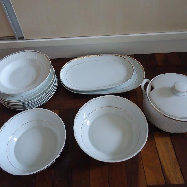 conjunto louças pratos rasos filete ouro porcelana usado