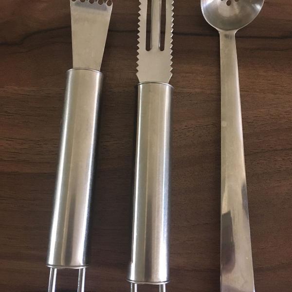 3 utensílios de cozinha de inox da brinox - concha de