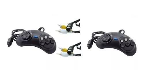 Kit 2 Controles Mega Drive 1,2 E 3 Mais 2 Cabos Av Mega 3