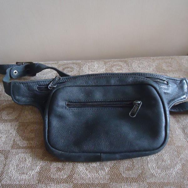 pochete bolsa de cintura de couro unissex usada