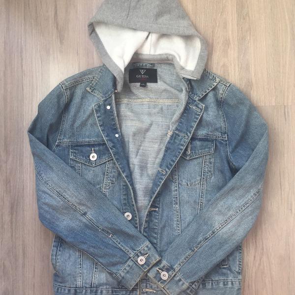 jaqueta jeans guess com capuz moletom removível