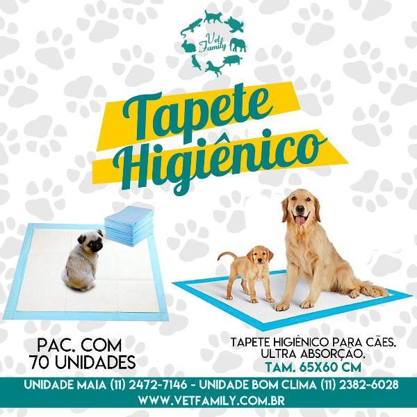 tapete higiênico para cachorros - 70 unidades - 65x60cm