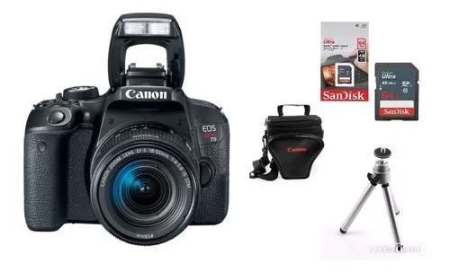 Câmera Canon T7i C/ 18-55mm + 64gb + Tripé + Bolsa