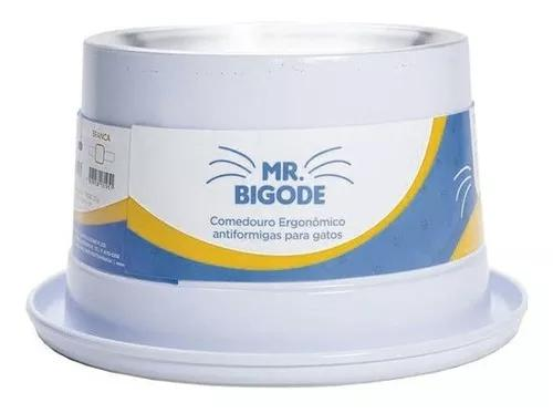 Comedouro Antiformiga Para Gatos Mr. Bigode Branco Nf