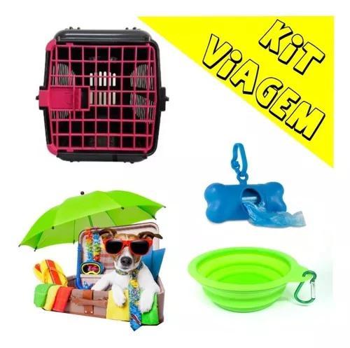 Kit Caixa De Transporte + Comedouro Retratil + Cata Caca