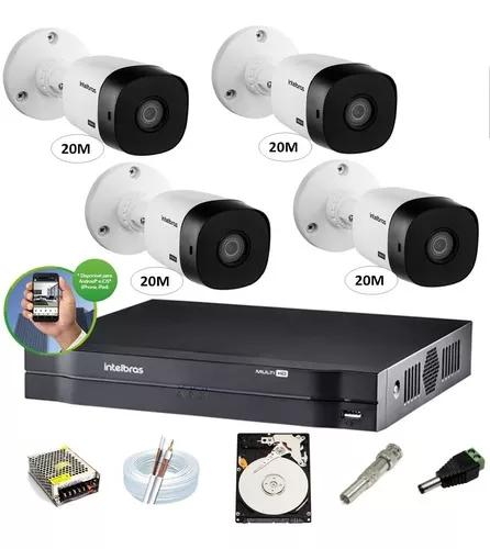 Kit Intelbras 4 Cam G4 Dvr 4ch Mhdx 1104 Multihd H.265 1 Tb