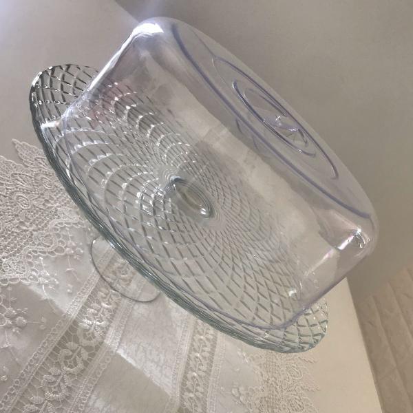 boleira de vidro porta bolo boleira com pé boleira com
